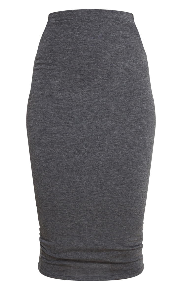 Charcoal Ultimate Jersey Longline Midi Skirt 5