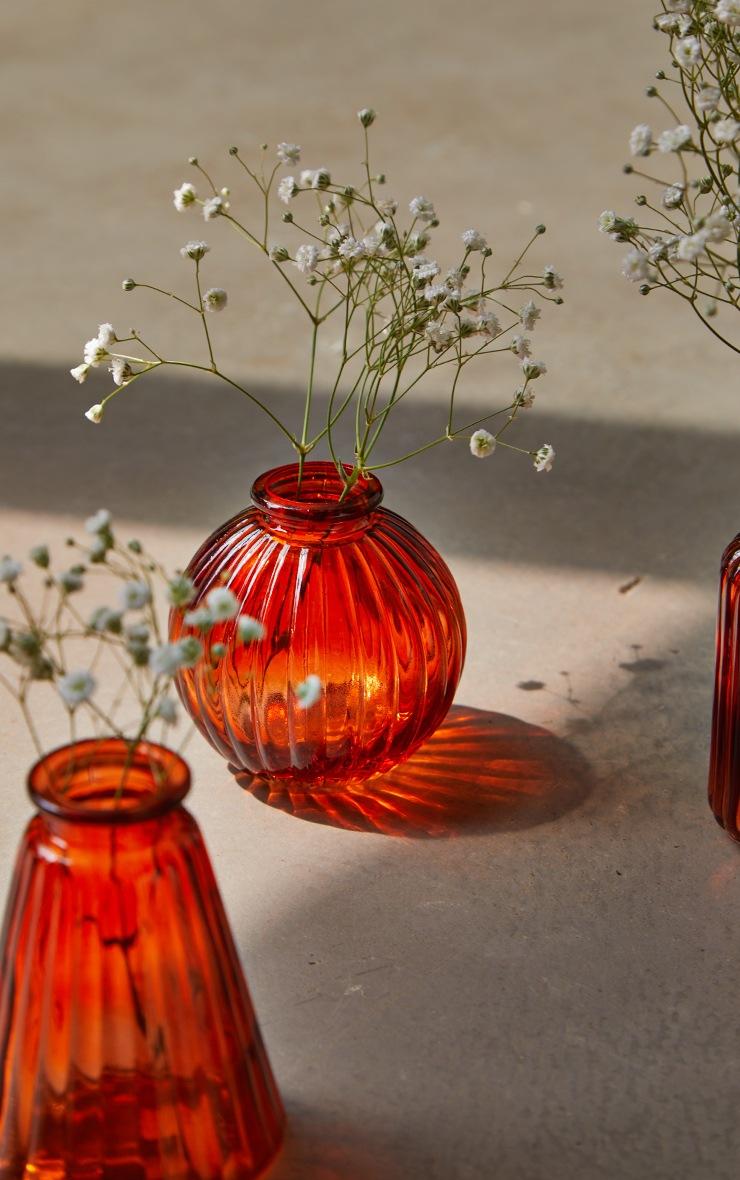 Amber Glass Bud Vases - Set of 3 2