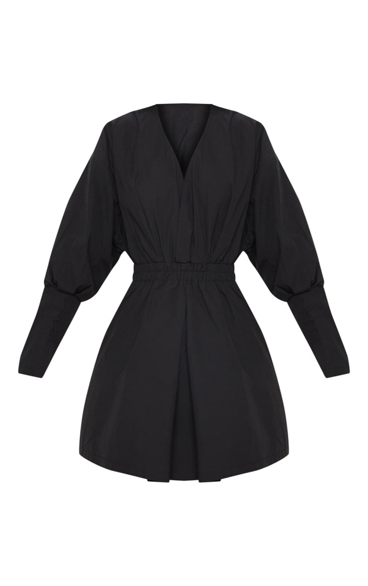 Black Plunge Ruched Shirt Dress 4
