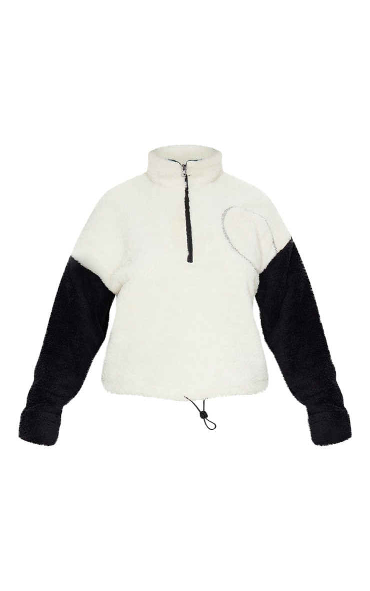 Black Borg Contrast Crop Zip Sweater 3