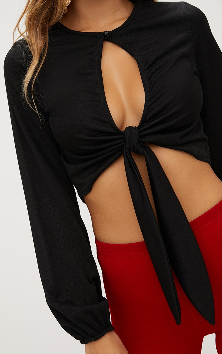 Black Open Front Tie Longsleeve Top  5