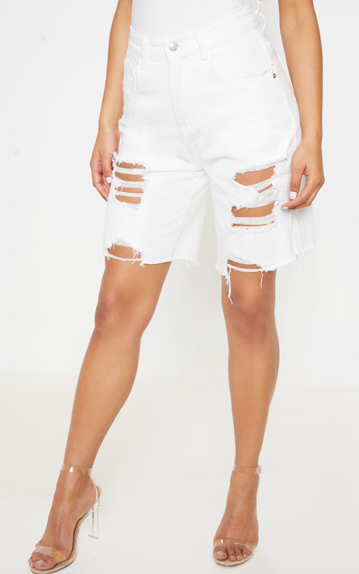 White Heavy Distressed Mom Shorts  2