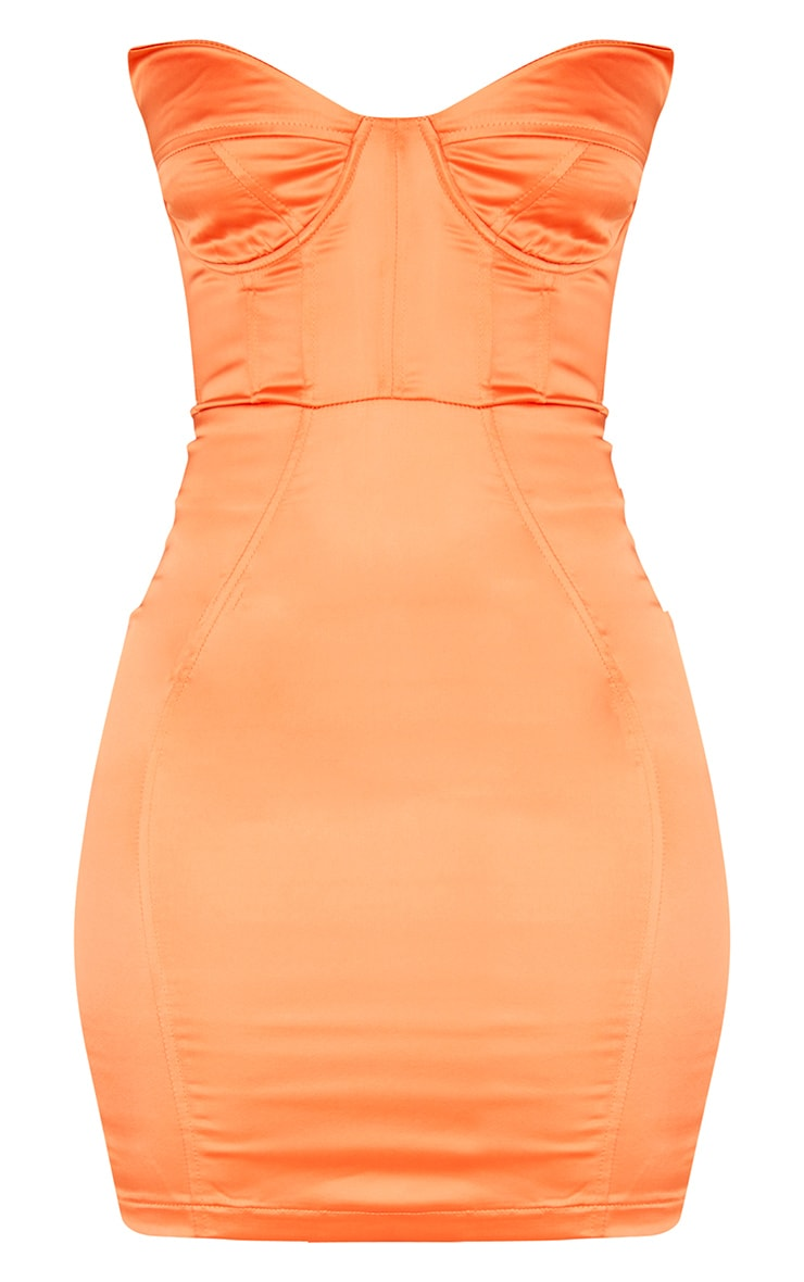 Orange Bandeau Binding Cup Detail Bodycon Dress 3