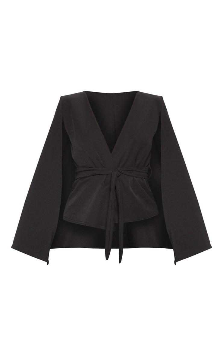 Black Crepe Belted Cape Blazer 3