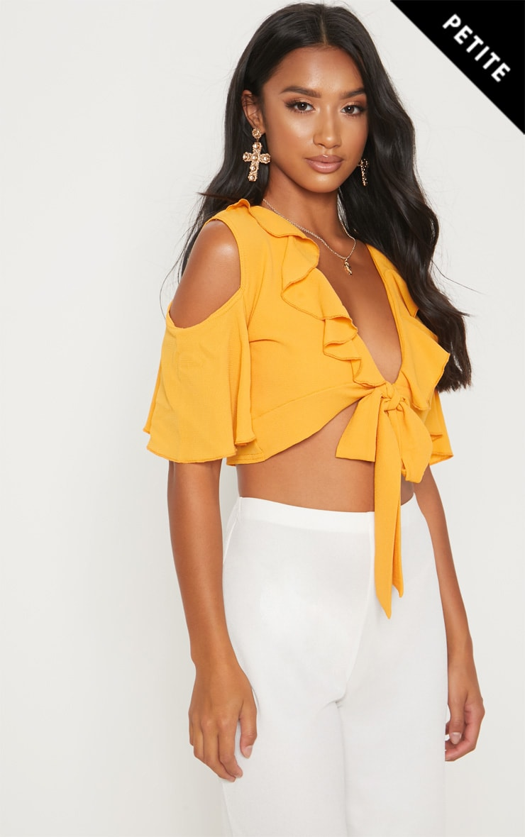 Petite Mustard Cold Shoulder Frill Crop Top
