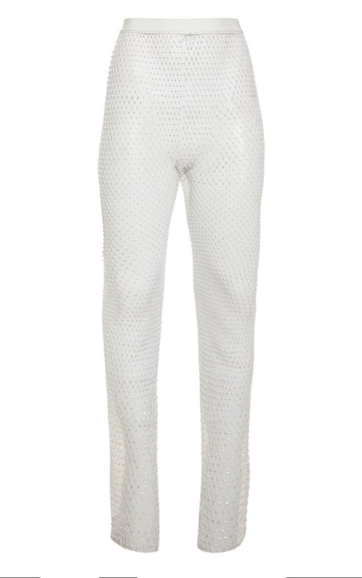 White Mesh Diamante Wide Leg Pants 3