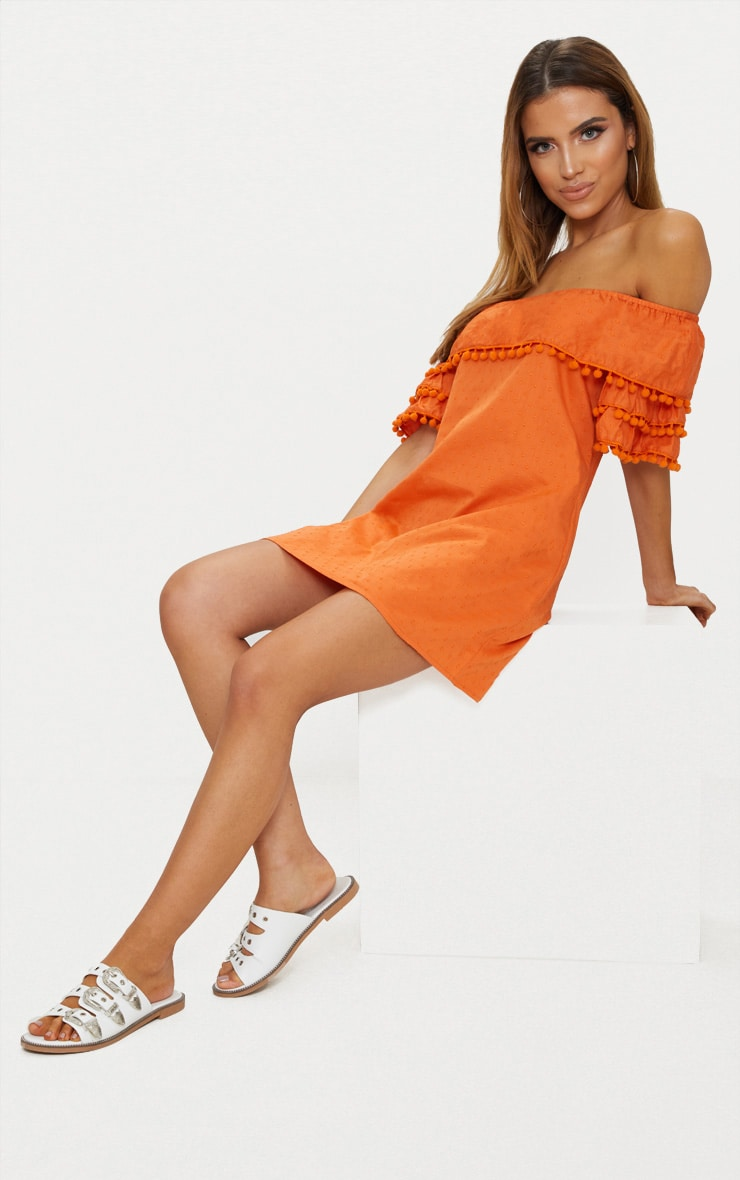 Burnt Orange Pom Pom Bardot Shift Dress 1