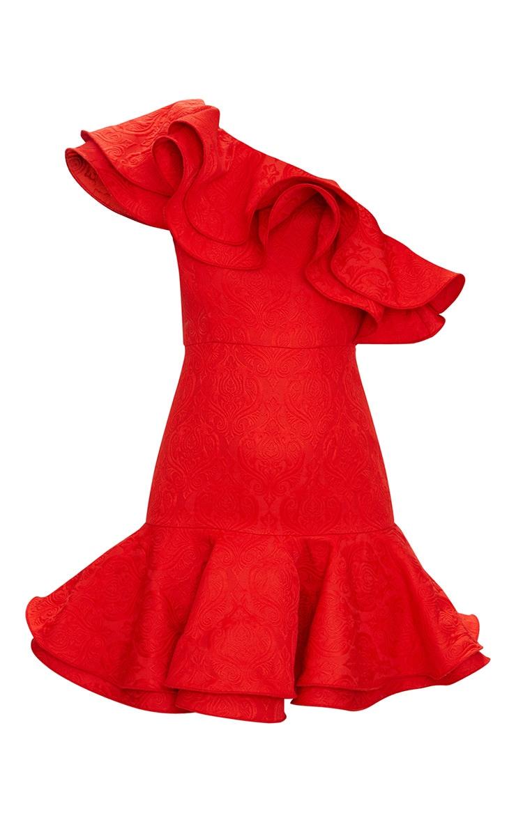 Red Jacquard One Shoulder Frill Drop Hem Dress 4