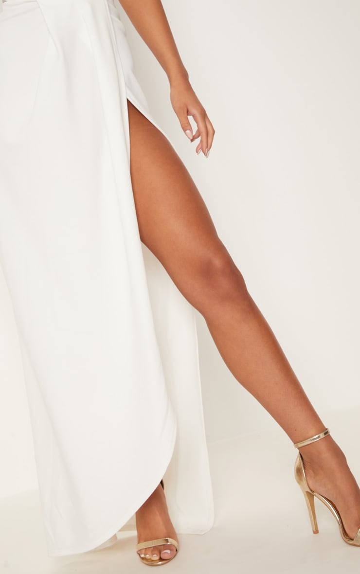 White Draped Wrap Detail Bandeau Maxi Dress 5