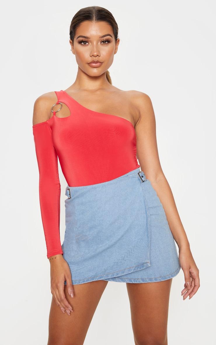 Scarlet Slinky O-Ring One Shoulder Bodysuit 1