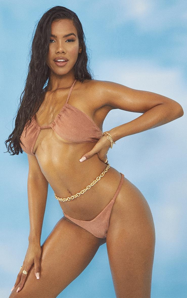 Brown Towel Cross Front Bikini Top 3