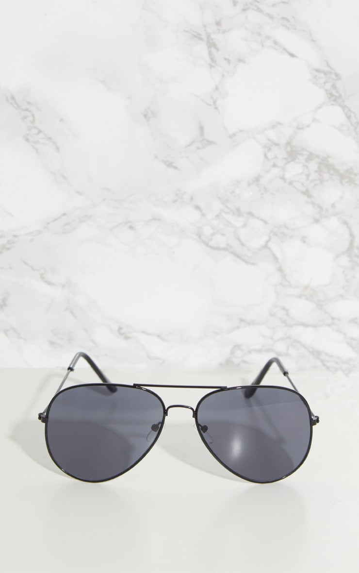 Black Metal Aviator Sunglasses 2
