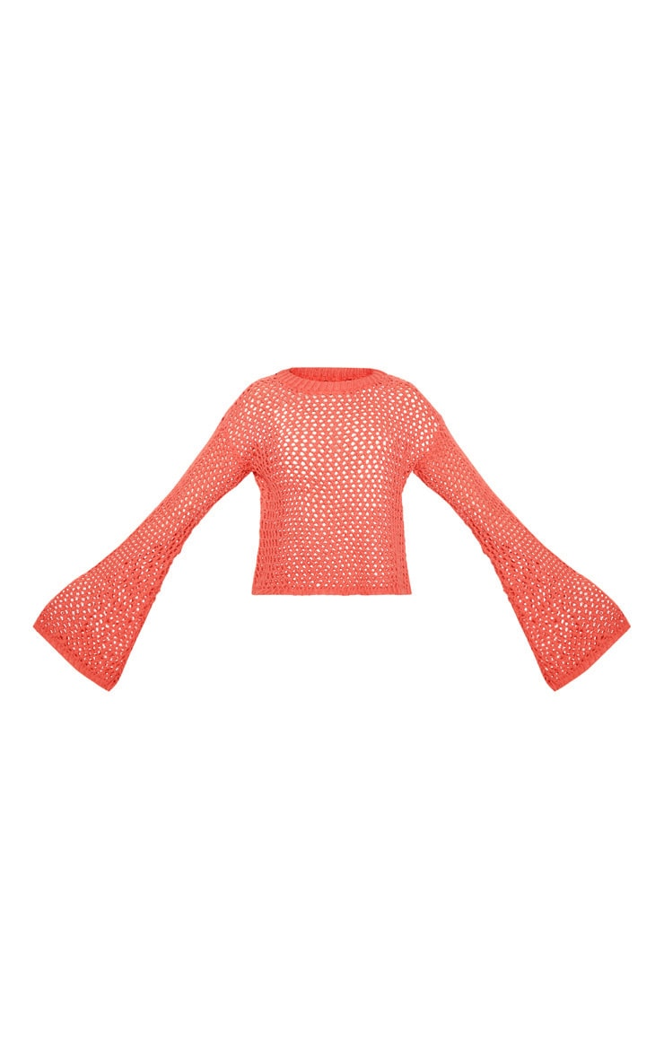 Coral Crochet Knit Flare Sleeve Jumper  3