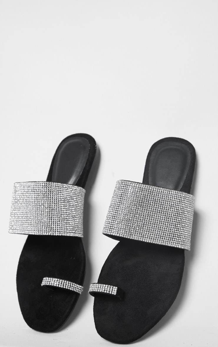 Black Diamante Strap Toe Loop Sandals 4