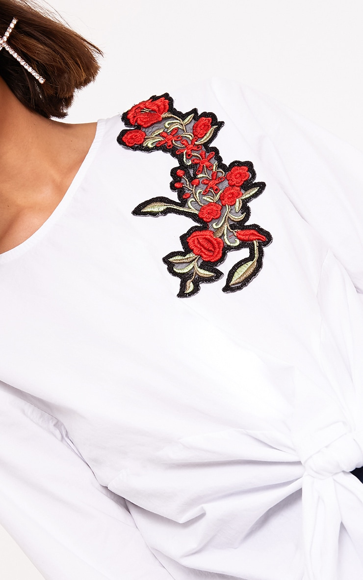 Talin White Floral Applique Tie Front Shirt 5