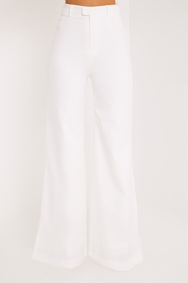 Reemah Cream Wide Leg Crepe Trousers 2