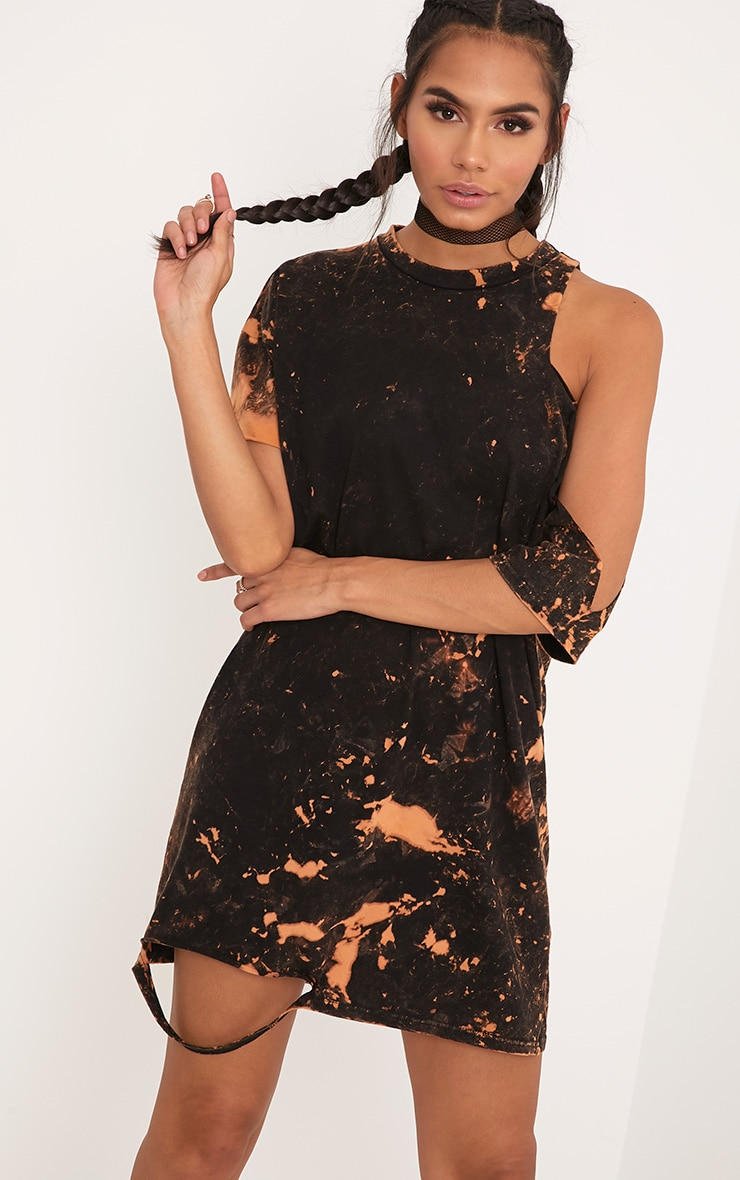 Ranar Black Tie Dye Cut Out T Shirt Dress  1