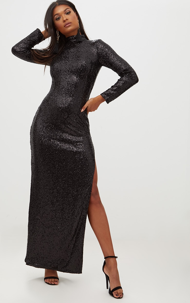 Black Sequin High Neck Long Sleeve Maxi Dress 1