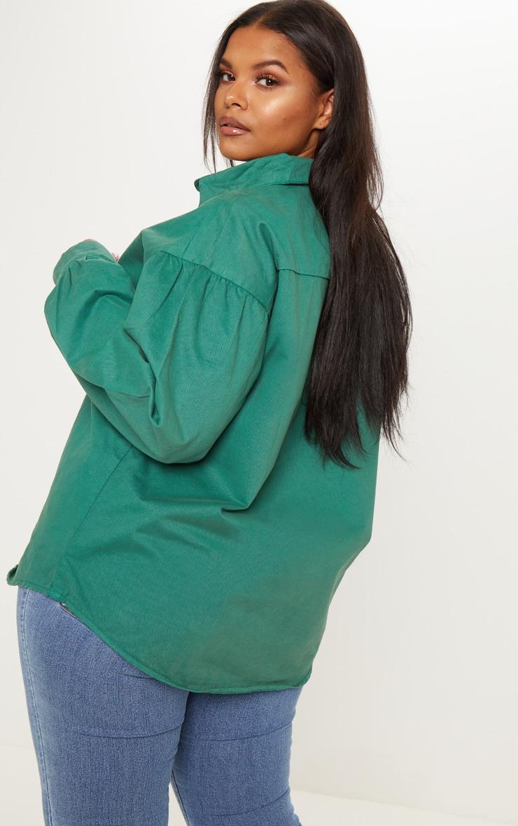 Plus Emerald Green Denim Tortoise Button Puff Sleeve Shirt 2