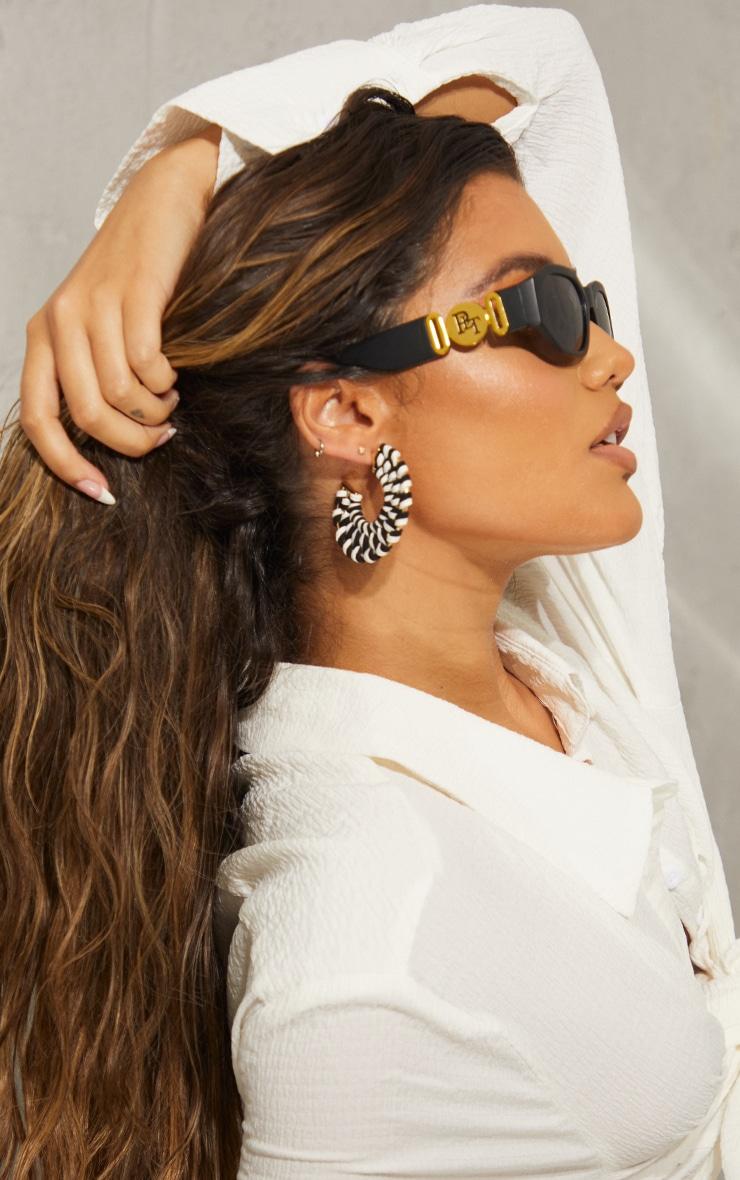 Monochrome Weave Chunky Hoop Earrings 3