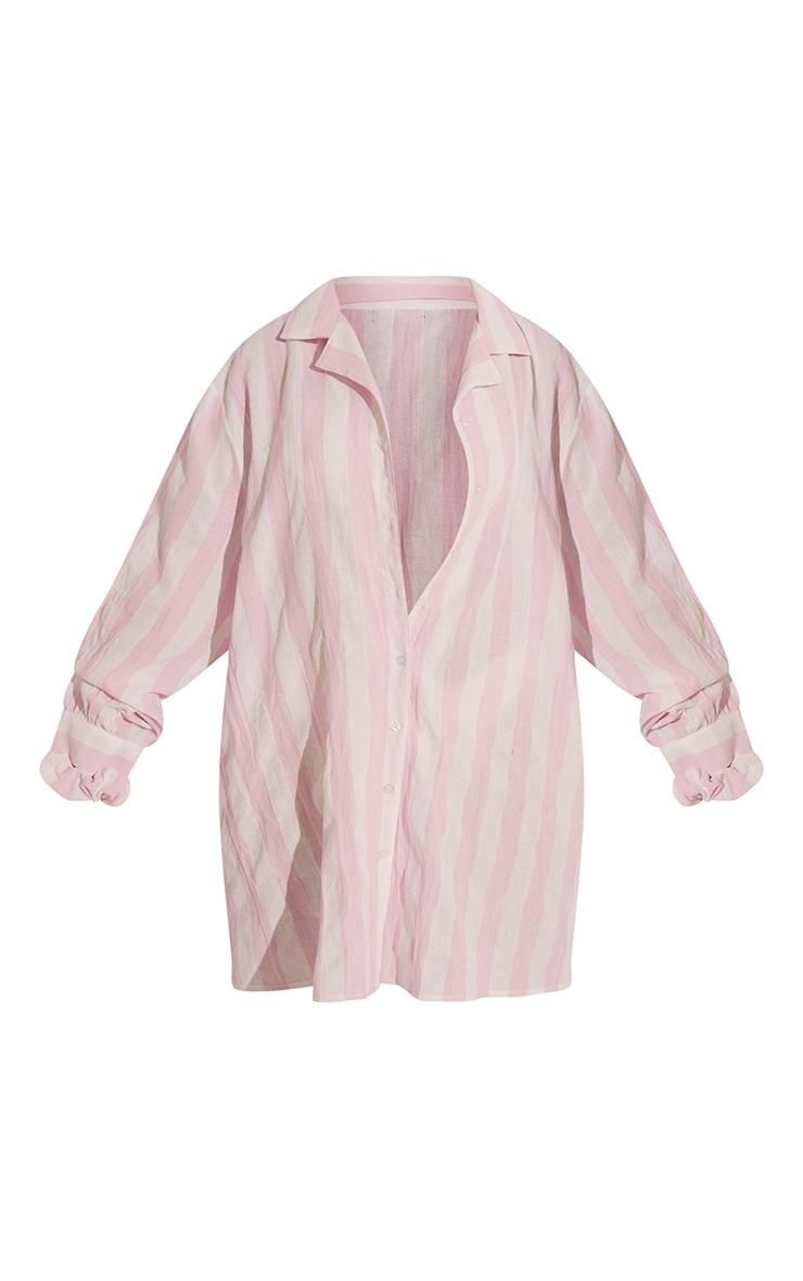 Pink Wide Stripe Cotton Oversized Nightshirt With Scrunchie 5