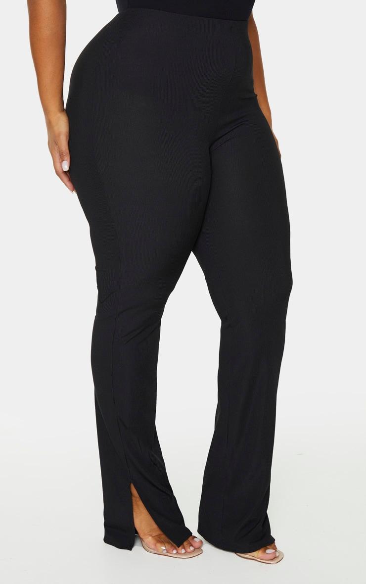 Plus Black Ribbed Skinny Split Hem Pants 2