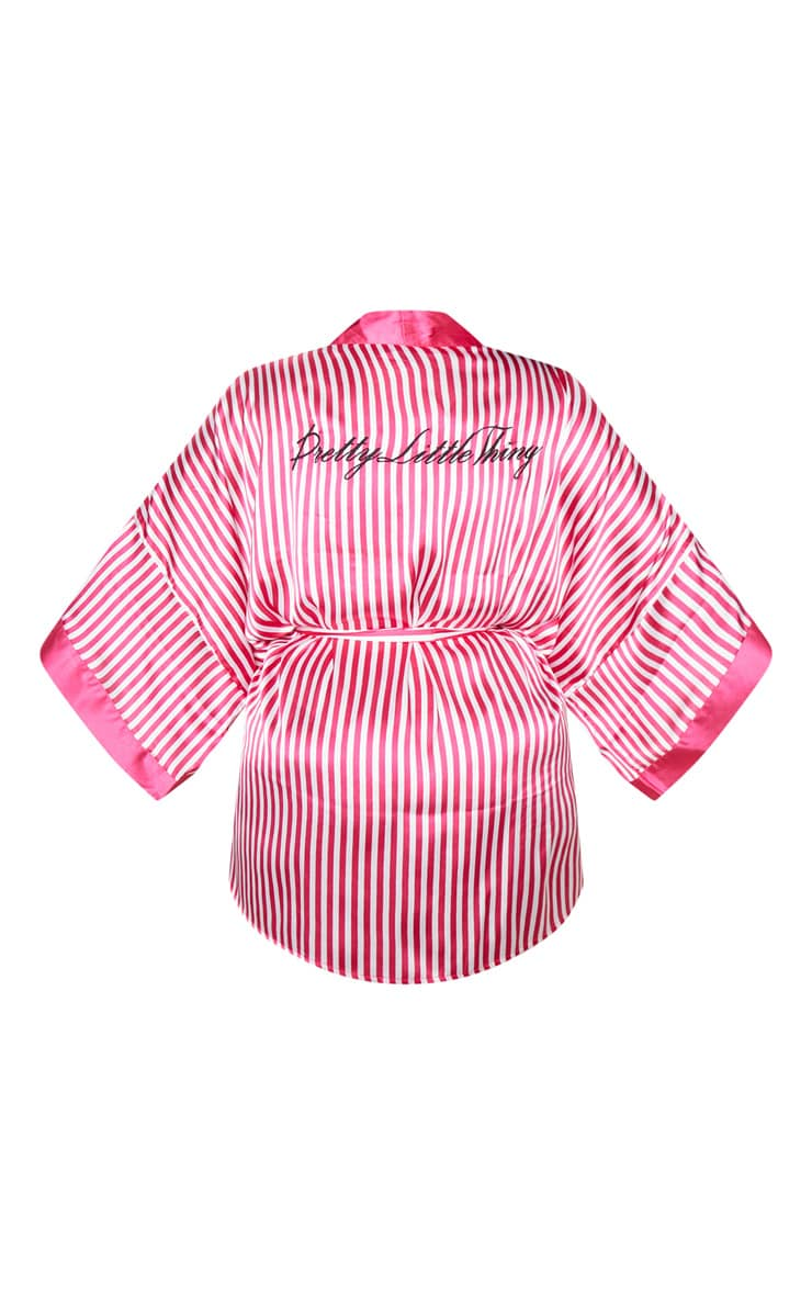 PRETTYLITTLETHING Plus Fuchsia Striped Satin Robe 4