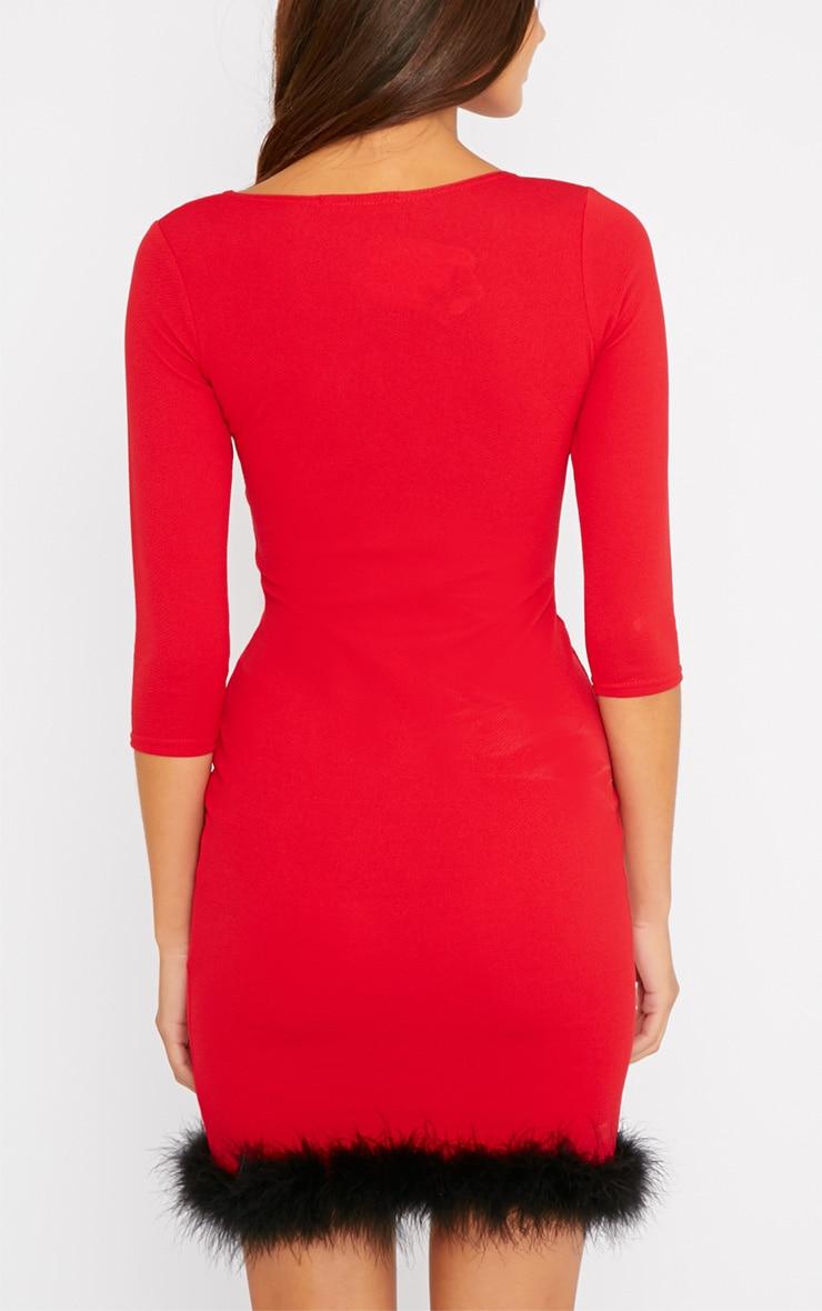 Maya Red Fluffy Trim Dress 2