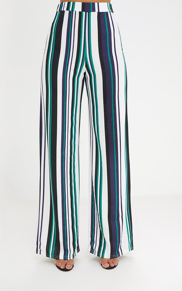 Green Stripe Wide Leg Trousers 2