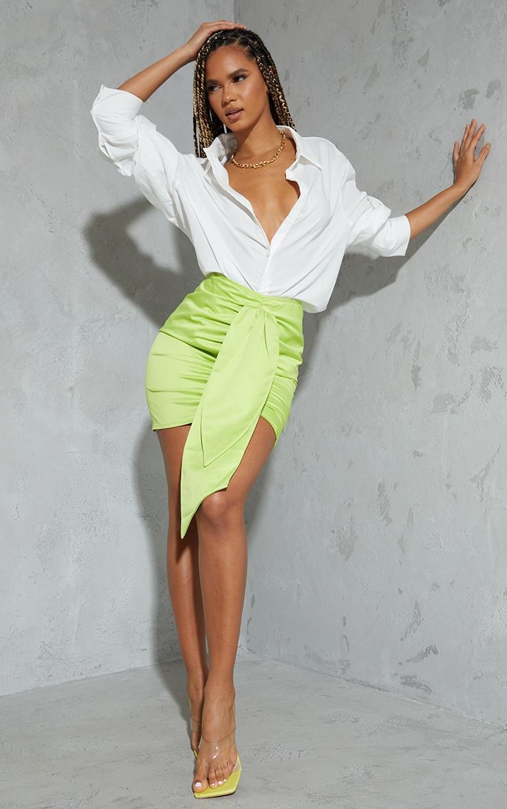 Lime Satin Drape Ruched Mini Skirt 1