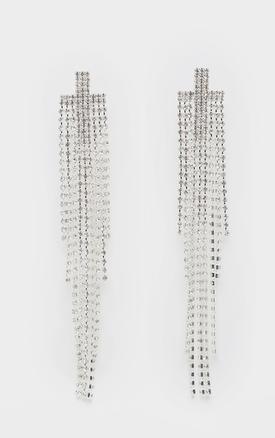 Silver Diamante Chandelier Statement Earrings