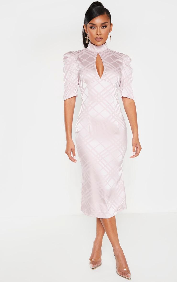 Lilac High Neck Puff Sleeve Keyhole Midi Dress 4