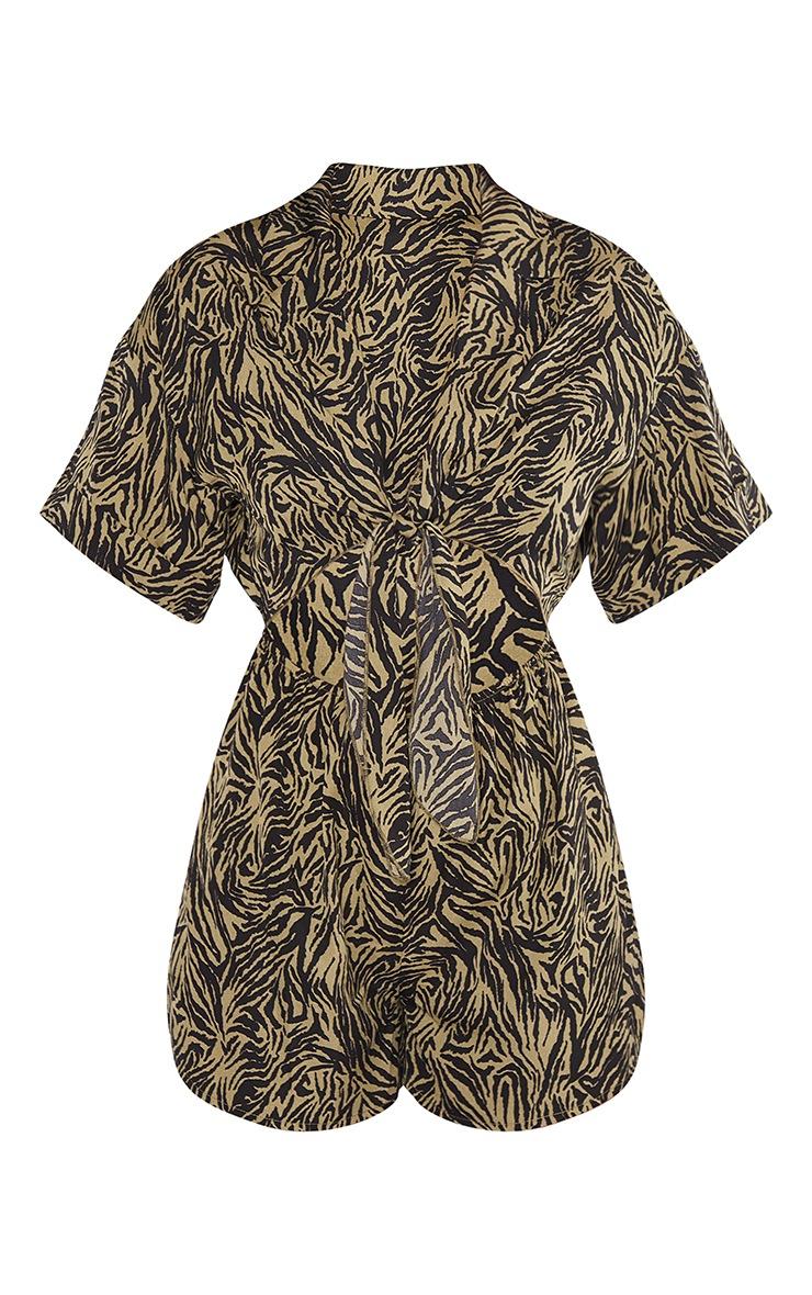 Khaki Zebra Print Tie Detail Short Sleeve Romper 5