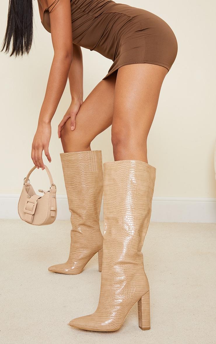 Cream Wide Fit Croc Pu Knee High Point Block Heel Boots 2