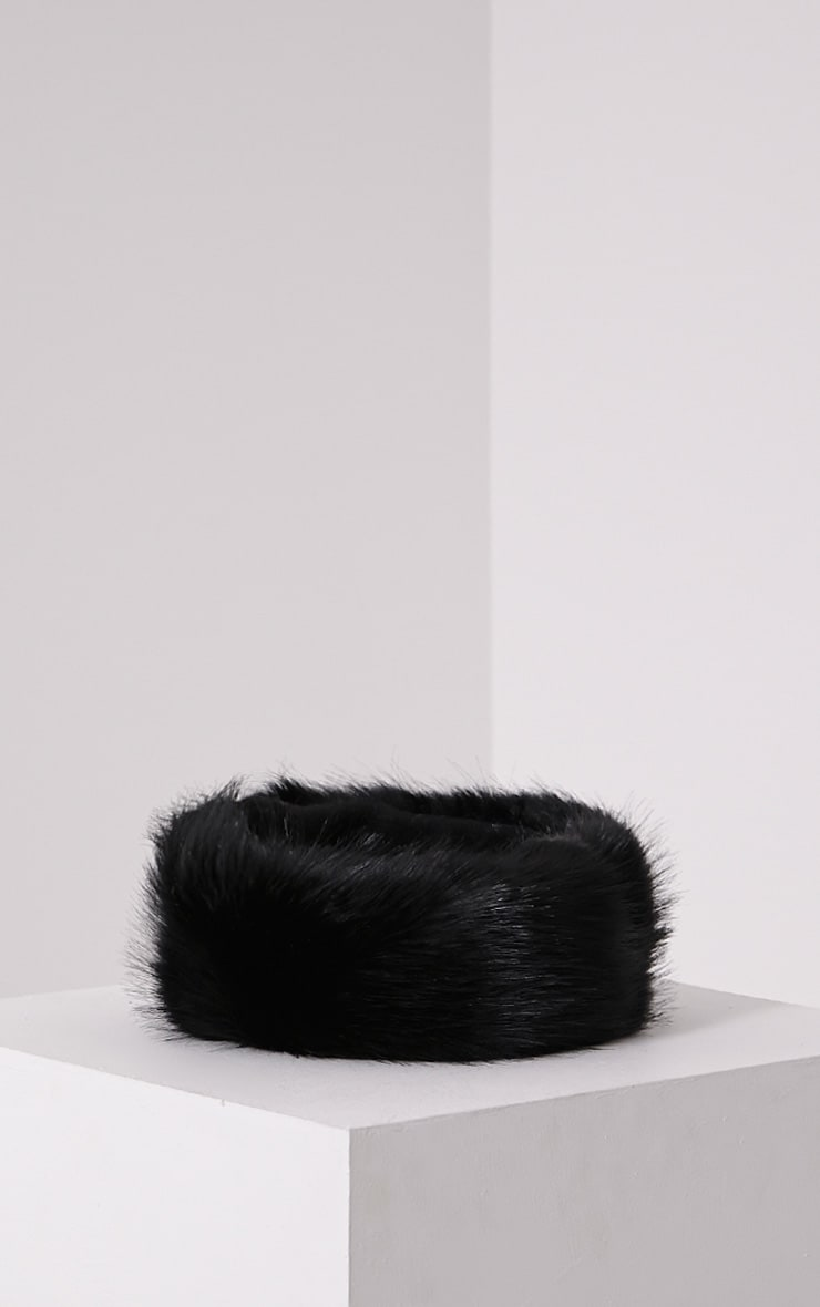 Harrie Black Faux Fur Headband 3