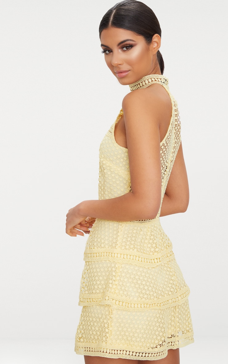 Lemon Lace Panel Tiered Bodycon Dress  2