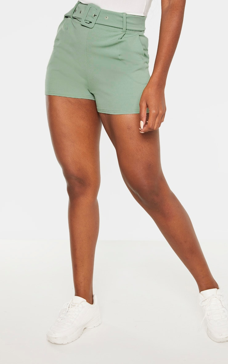 Sage Green Belted Tailored Short  2