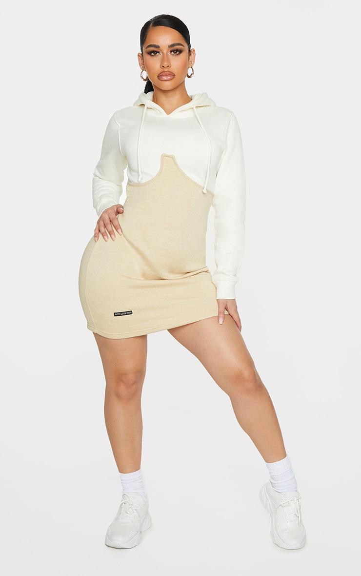 Shape Cream Underbust Detail Hooded Sweatshirt Dress 3