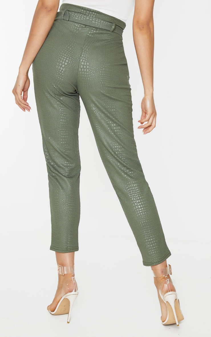 Tall Khaki Croc Print D Ring Belted Skinny Trousers 3