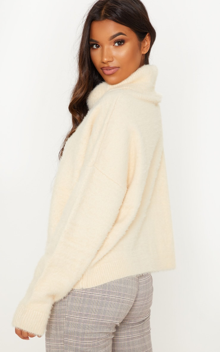 Cream High Neck Eyelash Knitted Jumper  2