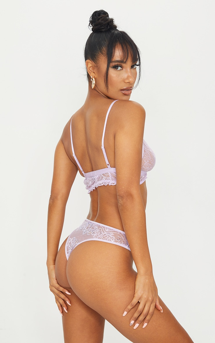 Lilac Floral Lace Cut Out Bra And Knicker Set 2