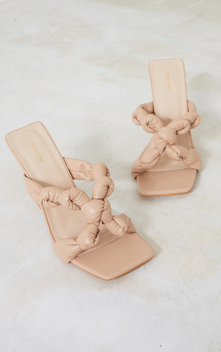 Camel PU Square Toe Knotted Strap Heeled Mules 3