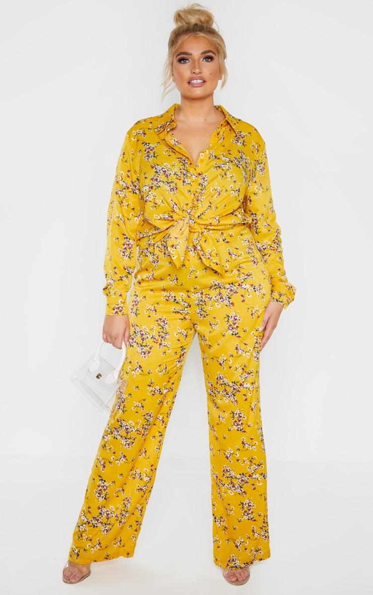Plus Yellow Floral Wide Leg Pants  1