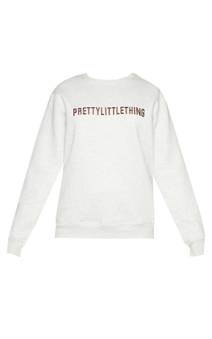 PRETTYLITTLETHING - Sweat avoine chiné oversize à slogan brodé 5