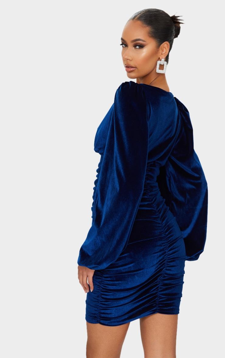 Cobalt Velvet Ruched Balloon Sleeve Plunge Bodycon Dress 2