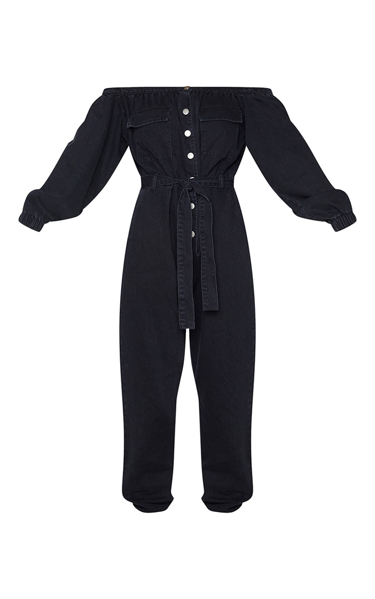 Washed Black Bardot Button Through Denim Jogger Jumpsuit 5