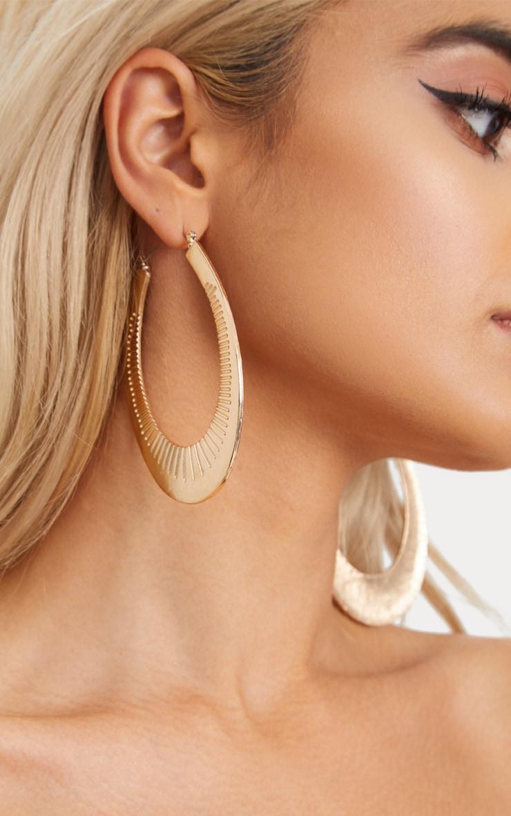 Gold Large Oval Line Detail Hoop Earrings 1