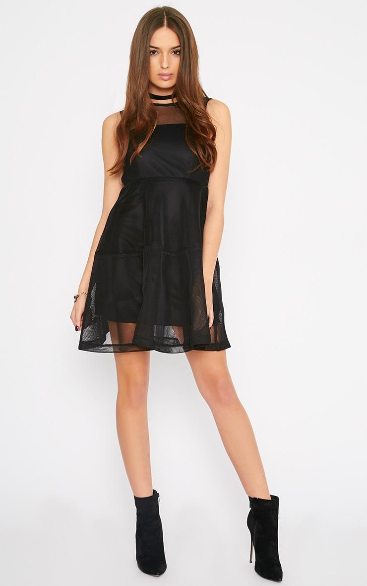Hannie Black Net Skater Dress 3