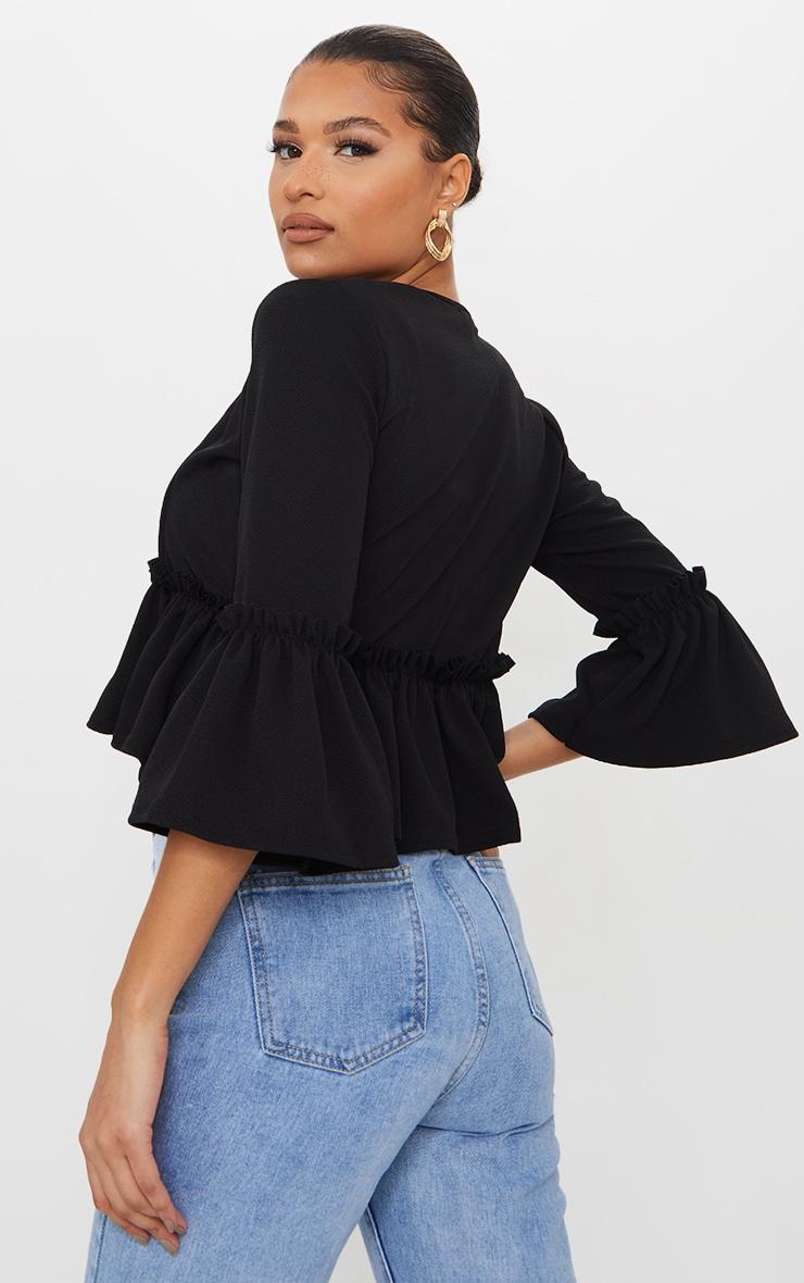 Black Frill Sleeve Blazer 2