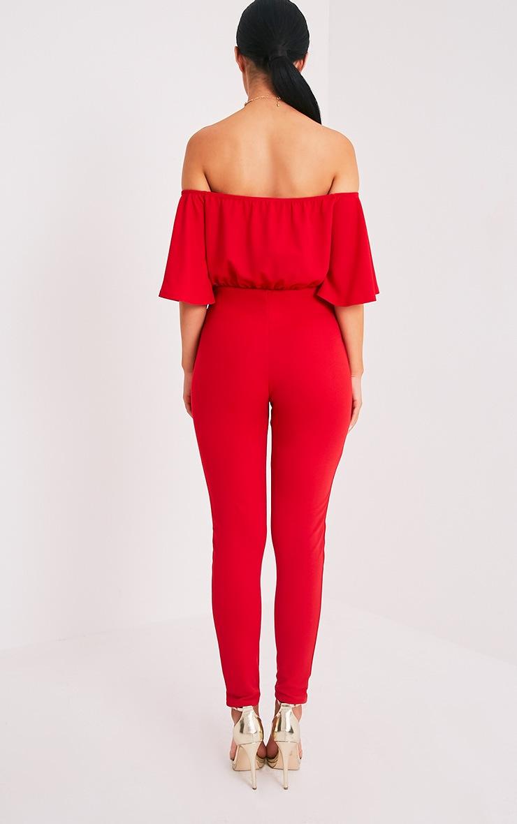 Junna Red Bardot Crepe Jumpsuit 2